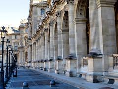 Le Louvre, Paris France (duaneschermerhorn) Tags: art architecture arches columns pillars lampposts lamppost vanishingpoint old vintage