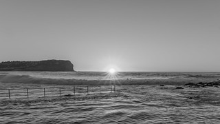 Sunrise Seascape with Sunburst in Black and White