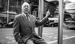 Here's your bus (Ian Betley Photography) Tags: chester cheshire bus stop uk england old man ian betley photography images august 20 20th 2017 canon eos 5d mark iii ef40mm f28 stm ƒ28 1800 400 mm black white suit tie shirt trousers street photographer