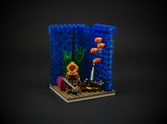 01 - Diver (CeciΙie) Tags: lego moc cmf minifig diver vig vignette collectible anchor tropical fish coral underwater sea