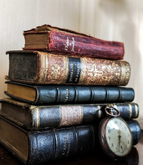 Books and clock (vandentroost) Tags: book books old clock ancient library vintage dusty dust learning reading study stack pile bokeh cover hardcover knowledge