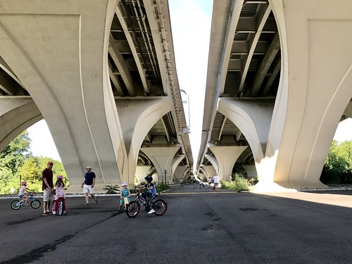 learning to bike under the bridge