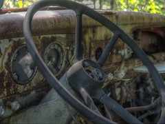 Steering Into The Past (Brian Rome Photography) Tags: urbex urbanexploration travel mcleans wreckers auto automotive rusty beauty old photo abandoned decay outdoor lost ruined crusty derelict forgotten deserted