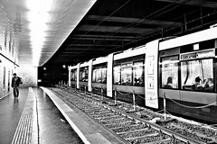 Alone (Roi.C) Tags: peoples people street outdoor underground subway train black white blackwhite blackandwhite nikkor nikond5300 nikon europe vienna austria sit sitting seated bw monochrome
