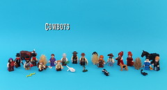 Cowboys - Figbarf (noggy85) Tags: lego moc figbarf minifigs minifiguren cowboys pistolen pistols cow kuh horse pferd scorpion skorpion peitsche whip lasso saloon ladies calvary sheriff