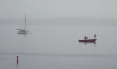 (mgalley) Tags: port harbor boat fishermen fog mist water ocean barnstable