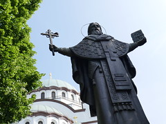 A statue outside of St Sava Church