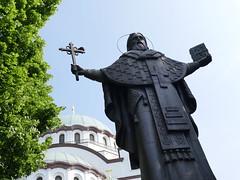 A statue outside of St Sava Church