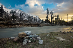 cacophony of silence (dr_zook81) Tags: har ki dun uttrakhand uttarkashi evening sunset landscape color mountain peak snow river stream wide outdoors trees rock valley light clouds sky blue orange india