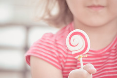 RED... candy (Ayeshadows) Tags: stripes red little girl smile blessed daughters sharing candy
