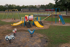 Playtime (marko138) Tags: 955 emd funit f9a ns4270 ns4271 newport norfolksouthern ocs pitl pt131 pennsylvania pittsburghline businesstrain dusk fall kids locomotive mainline middledivision officecarspecial park playground railfan railroad railroadphotography train