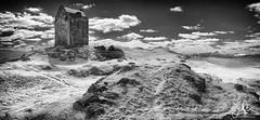 Smailholm Tower (Scotty Rae) Tags: kelso scotland infrared ir bw monochrome blackwhite tower castle borders scottishborders summer eildons eildonhills panorama panoramic