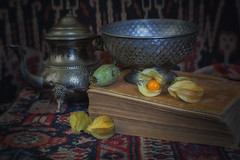 Old Book and Fruit (suzanne~) Tags: book old physalis fruit stilllife tabletop teapot bowl silver orientaltextile saddlebag ikat lensbaby softfocusoptic