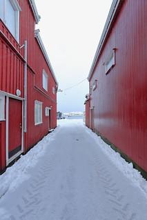 Snowy narrow alley between red port warehouses. Hamnoy-Reine-Lofoten-Norway. 0391