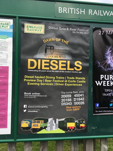 Swanage Railway Diesel Gala poster at Corfe Castle