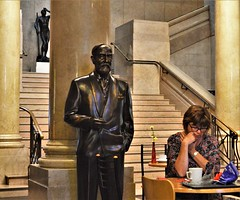Coffee Break (howell.davies) Tags: statue statues people persons candid break table furniture stairs museum nikon d3200 1855mm wales uk indoors cardiff