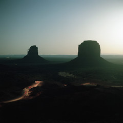 (patrickjoust) Tags: tlr twin lens reflex 120 6x6 medium format c41 color negative film cable release tripod long exposure night after dark manual focus analog mechanical patrick joust patrickjoust usa us united states north america estados unidos utah arizona ut az monument valley navajo nation moonrise moon light car trail stream desert butte southwest super ricohflex kodak portra 160