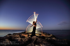 Dancing under the stars (Carlos Server Photography) Tags: eric pare lightpainting nightscapes nightphotography longexposure sunset sky stars tubes stories torchs bulb canon 1635mm rocas water sea model pintura de luz fotografia nocturna larga exposicion atardecer estrellas cielo agua mar