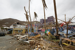 View of damage caused on by Hurricane Irma in Road Town, the capital of the British Virgin Islands.