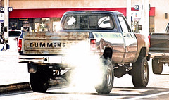 Cummins Rollin' Coal (Eyellgeteven) Tags: dodge mopar chrysler pickup pickuptruck truck cummins diesel turbodiesel 1990s 1980s 4x4 fourwheeldrive cumminsdiesel farmtruck worktruck 34ton w250 beater beatup jalopy junker dented dents dent lifted bigtires oddpanel blue rust rusty rusted rustyandcrusty decal sticker bumpersticker decoration decals rollincoal smoke exhaust smokecloud classic vintage vehicle americanmade madeinusa pollution emissions fumes dieselfumes airpollution survivor eyellgeteven ugly faded oxidized oxidation old ram dodgeram powerram gray gasstation fuel conveniencestore 711