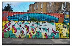 STREET ART by DSCREET & FRANKIE STRAND (StockCarPete) Tags: frankiestrand streetart londonstreetart wallart shippingcontainer character crocodile croc spraycanart urbanart aerosolart