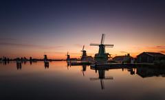 Hashtag Holland (reinaroundtheglobe) Tags: zaanseschans zaandam mills sunrise water reflections summer skycolorful color nederland thenetherlands holland noordholland dutch dutchlandscape traditionalmill windmill molens molen