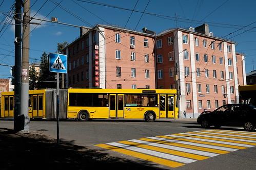izhevsk color postcard center yellow bus yellow zebra DSCF0282 Dmitri Bender Flickr