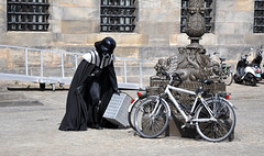 'My Other Vehicle Is The Death Star' (SONICA Photography) Tags: sonica amsterdam nederland netherlands holland dutch citybreak city nikond90 july2017 canal boat canalboat street amstel amstelriver sunset sonnenuntergang evening sol soleil darthvader jordaan deathstar performer bike velo bicycle