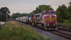 Pinkbonnet Duo. (lukeharwell) Tags: trains railroad locomotive bnsf joliet illinois d944cw ge dash9 redbonnet santafe warbonnet