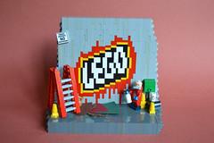 Graffiti Artist (th_squirrel) Tags: lego minifig minifigure spraypaint alley graffiti art
