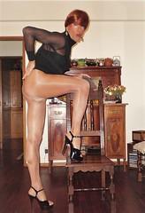 Karen (Karen Maris) Tags: tgirl tgurl tg transvestite transgender transsexual trans karen legs tranny trannie heels highheels pantyhose tights sheer redhead crossdress crossdresser
