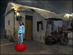 A girl on the ball (bdira3) Tags: shabby cottage laundry girl ball bike surreal atmospheric