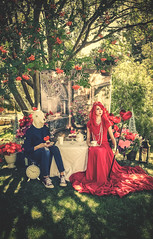 Tea and Tarts With The Queen Of Hearts (LornaTaylor) Tags: lornataylor lornataylorphotography redqueen whiterabbit rabbit queen red teaparty cakes tarts hearts crown taylorimagesca copyright2017lornataylor caitlin benjamin fantasy fairytale conceptual storytelling trees garden portrait itisstrictlyforbiddenbylawtouseanyofmyimagesortextforprintingblogssaleorwebsiteswithoutmypermission