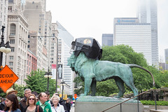 art institute. june 2015 (timp37) Tags: people illinois chicago 2015 art institute june statue lion blackhawks hockey helmet