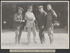 Doc Wildman, Mossholder, Macy and Sutton. (SMU Central University Libraries) Tags: earlyaviation flight flying aerial airborne photography smu southernmethodistuniversity library archives aircraft docwildman wildman mossholder macy sutton johnsutton pilot aviator hangar