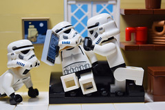 """You got GAMES on your phone?!"" (RagingPhotography) Tags: lego star wars imperial galactic empire stormtroopers funny humor humorous laugh games phone plastic bricks minifigure minifig figure toy cute indoor hilarious house ragingphotography"