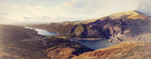 Lake's view from top of Derlwyn mountain and looking towards Llanberis village at sunset.