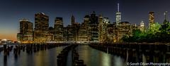 Across the water... (SarahO44) Tags: new york city brooklyn bridge park skyline night water reflection sunset dusk landscape usa united states america canon 6d long exposure nyc big apple
