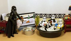 Hot Times on the Death Star (ChicaD58) Tags: dscf0703e starwarsactionfigure actionfigure stormtrooper clonetrooper stormtrooperbruce stb tk1110 tk432 darthvader hottimes tinoficeddrinks hottub hottubfilledwithice icecreamcones popcicle tv plant endtable lamp tissue boxofpopcicles bagofice coffeemaker mug magazines commemorativedarthbottleofscotch