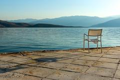 Chair (genf) Tags: chair early morning light stoel ochtend sfeer atmosphere mood blue brown blauw bruin greece griekenland galaxidi mediterranean middellandse zee baai bay creme sony a77 outdoor buiten licht