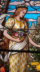 Vitrail (Nihat Alacahan) Tags: vitrail vitraux couleur strasbourg neogothique romantique femme fleurs lumiere light flowers woman colors pentax pentaxart stainedglass