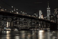 DOWN TOWN NYC (BUSTER NYC) Tags: nyc night brooklyn bridge wtc canon 70d east river reflections