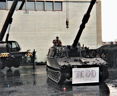 At the Swiss Army garrison, Thun - the end of the demonstration (photo by Roger Johnson)