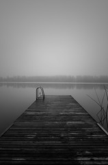 Misty Morning in Sweden (pedalpusher139) Tags: lake jetty blackwhite monochrome mist water sweden
