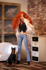 viviane and her dog (photos4dreams) Tags: thedolls06092017p4d thelookcityshinep4d barbie regularlifeinthedollhouse doll photos4dreams p4d photos4dreamz toy puppe dress mattel barbies girl play fashion fashionistas outfit kleider mode puppenstube tabletopphotography viviane canoneos5dmark3