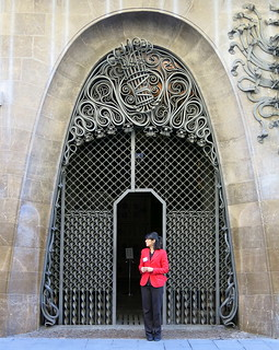 On guard: The main entrance of Palau Güell, built as  a private home  (1886-88) designed by Antoni Gaudí, Barcelona
