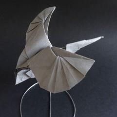 Kingfisher, designed by  Hideo Komatsu   [Hideo Komatsu challenge 39/50] (Orizuka) Tags: origami kingfisher vintagepaper hideokomatsu hkchallenge