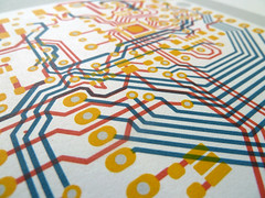 Arduino UNO circuit portrait (Euphy) Tags: screen print screenprint arduino microcontroller uno maker pcb circuit board layour wires traces art paper somerset satin acrylic illustration painting drawing