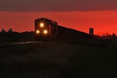 Sunset Coaler - Urbana, ND (MinnKota Railfan) Tags: rail railroad train bnsf burlingtonnorthernsantafe sunset railway urbana northdakota trains