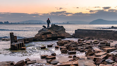 Fisherman and his dog - Rocky Daybreak Seascape (Merrillie) Tags: daybreak uminabeach sand landscape nature australia waterscape newsouthwales rocks uminapoint nsw blue beach sunrise water umina sea photography dawn outdoors seascape sky centralcoast clouds fisherman